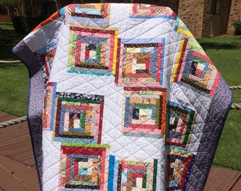 "A Liberated 51.5"" X 62.75"" Courthouse Steps Scrap Quilt"