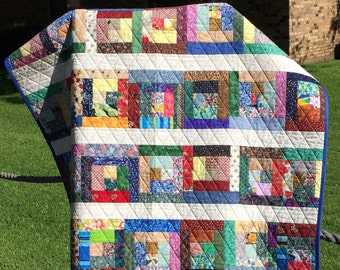"A Liberated 41.5"" X 60"" Courthouse Steps Scrap Quilt"