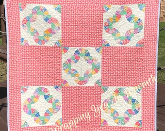 """1930's Reproduction Fabrics And The Traditional Fan Quilt Pattern Altogether In This 40.5"""" X 40.5"""" Gender Neutral Quilt"""