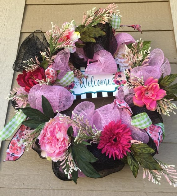 PINK and BLACK WREATH