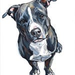 ORIGINAL Pit Bull Painting, Ready-to-ship