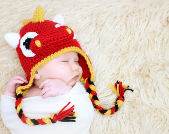 Dragon Earflap Hat CROCHET PATTERN instant download or dinosaur 67e5496cb16