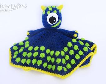 Monster Lovey CROCHET PATTERN instant download - blankey, blankie, security blanket