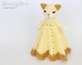 Kitty Cat Lovey CROCHET PATTERN instant download - blankey, blankie, security blanket