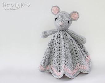 Wee Mouse Lovey CROCHET PATTERN instant download - blankey, blankie, security blanket
