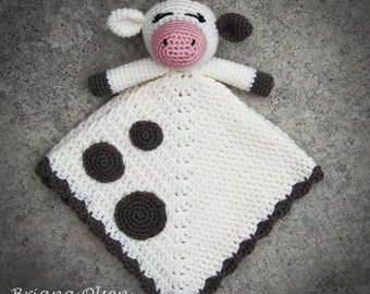Cow Lovey CROCHET PATTERN instant download - blankey, blankie, security blanket