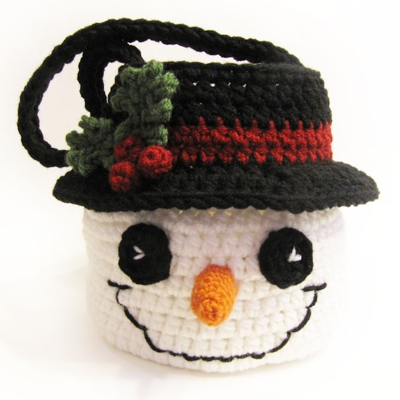 Snowman Basket Crochet Pattern Instant Download Bag Bowl