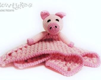 Piggy Lovey CROCHET PATTERN instant download - pig  blankey, blankie, security blanket