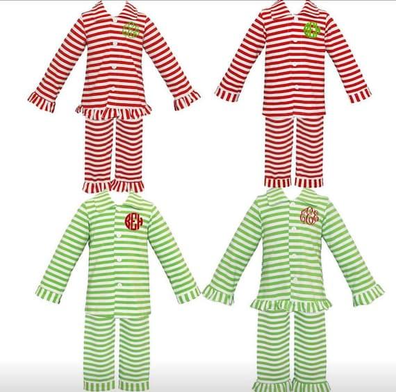 Items similar to READY TO SHIP Stripe Button Up Christmas Pajamas, Kids and Women Christmas Pajama Blanks, Blank Or Personalized on Etsy