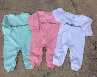 Monag Personalized Baby Girl or Boy Romper Playsuit Long Sleeve
