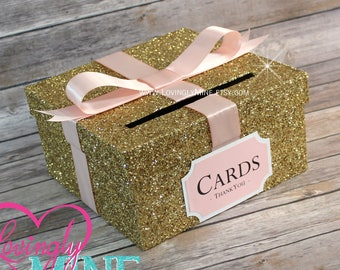 card box glitter gold blush pink white gift money box for any event baby shower wedding bridal shower birthday party graduation