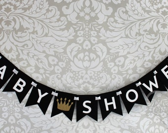Little Prince Baby Shower Gifts Banner In Black White Etsy