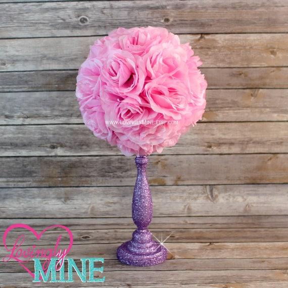 Items similar to centerpiece pink rose pomander glitter