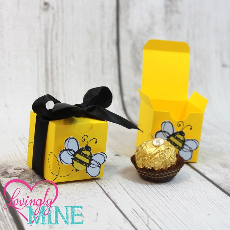Small Favor Boxes Bumble Bee Yellow Black White Set Of 12 Gender Reveal Baby Shower Birthday Party First Birthday Little Honey