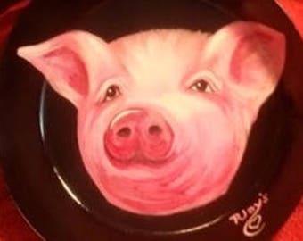 Hand Painted Original Pig NATIONAL VINTAGE SKILLET