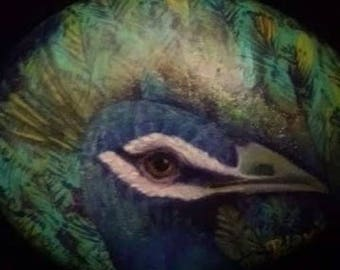 Original PEACOCK Head Hand Painted On RIVER ROCK