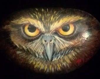 Original OWL Head Hand Painted On RIVER ROCK