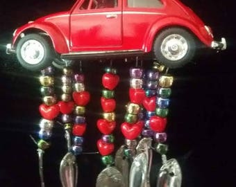 Original Hand-Crafted RED VOLKSWAGEN BEETLE Wind Chime
