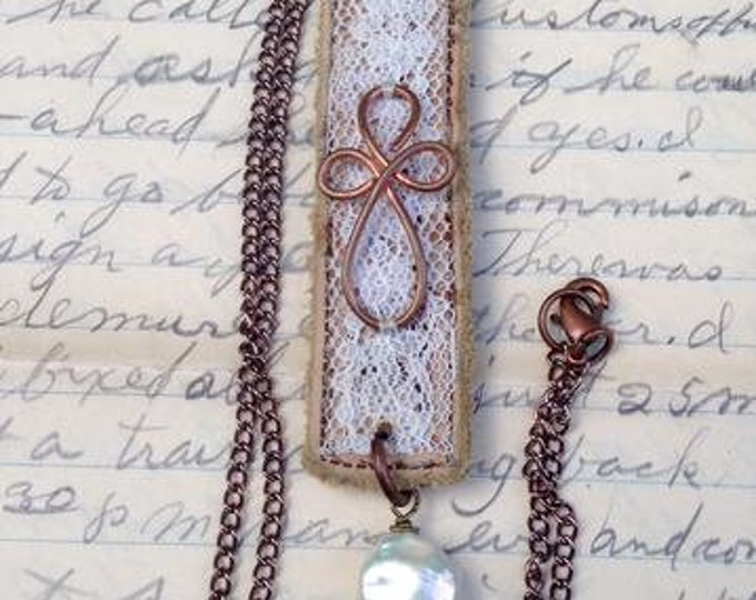 Upcycled Leather and Lace Cross Necklace with Pearl Coin