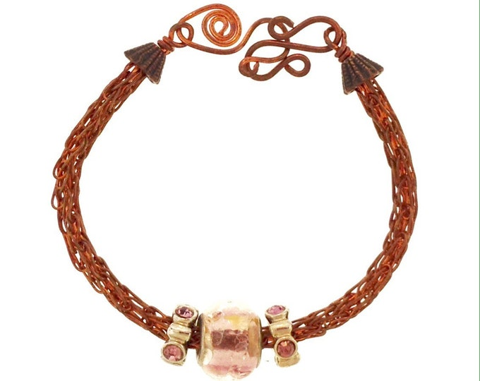 Copper Viking Knit Bracelet with Pink Beads
