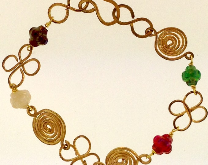 Clover and Spiral Wire Bracelet