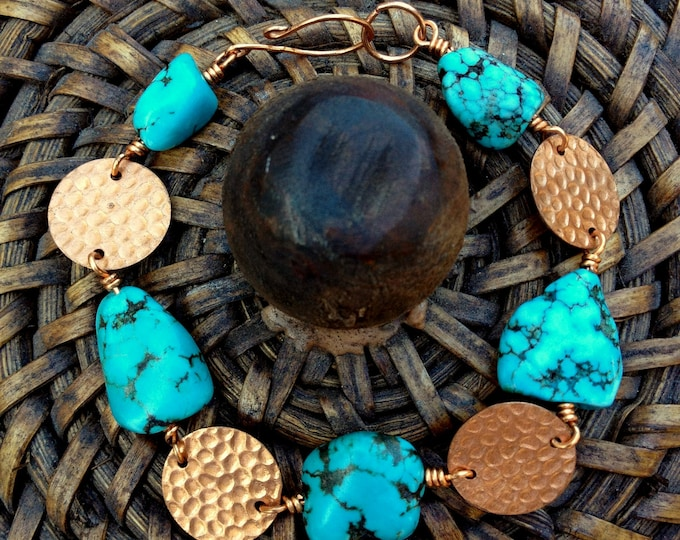 Hand Hammered Copper and Turquoise Nugget Bracelet