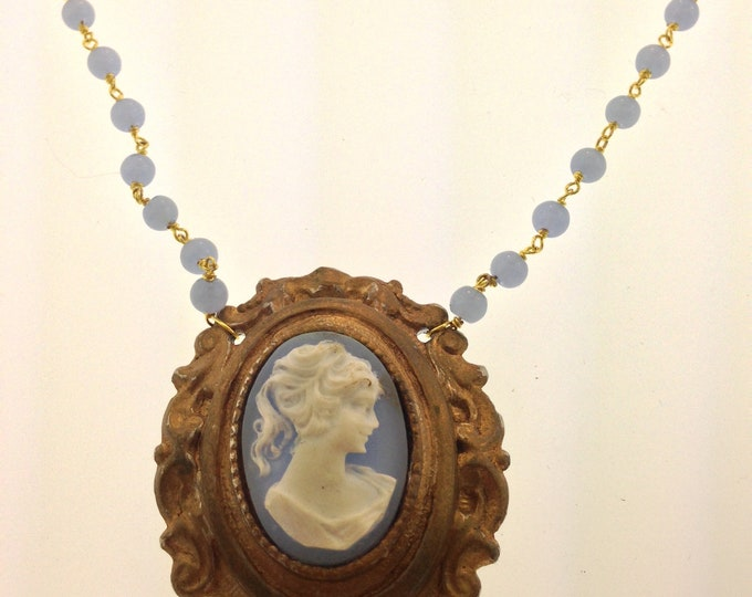 Light Sapphire Blue Cameo Necklace