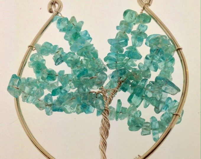 Apatite Stone and Sterling Silver Tree of Life