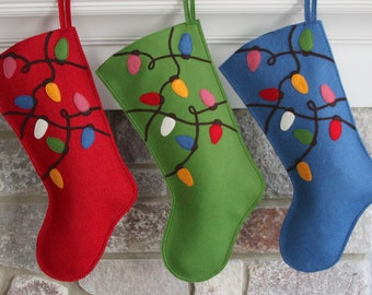 Handmade Wool Felt Christmas Stocking: Celebrate with a BLUE Tangled Light Bulbs Stocking at the Holidays!