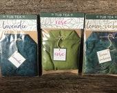 Set of Three Herbal Tub Tea Bath Bomb Soak- Lavender, Rose and Lemon Verbena Scented