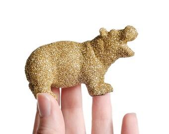 Baby Hippo Animal Nursery Decor Gold Glitter Critter Safari Baby Shower Centerpiece, Jungle Birthday Party Table Decoration New Mom Keepsake