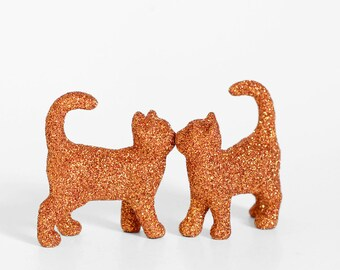2 Kissing Kitty Cats in Orange Glitter. Tabby Cat Lady Birthday, Wedding Cake Topper, Table Settings, Baby Showers or Animal Nursery Decor