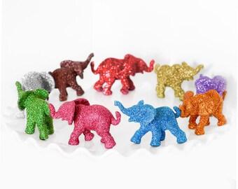 One Elephant Baby Gift, Safari Shower Decoration, Custom Glitter Color, Elephants Jungle Nursery Decor, Kids Circus Birthday Party Favors.