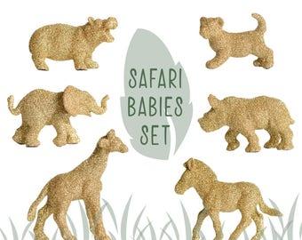 Safari Baby Shower Animal Decorations, Elephant Giraffe Lion Hippo Rhino Zebra Babies Nursery Decor Keepsake Set of 6 Gold Glitter Figurines