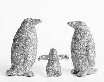 891a4f03993e Penguin Cake Topper Family Set in Silver Glitter. Birthday Party  Decoration