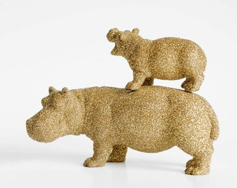 Mom and Baby Hippo Set for Safari Birthday Party, Gold Glitter Jungle Animals. Nursery Decor, Baby Showers Cute African Table Decorations