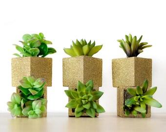 Succulent Pots, 1 Small Fake Indoor House Plant. Farmhouse Table Decor. Housewarming Gift Spring Summer Weddings, Glitter Office Planter Pot