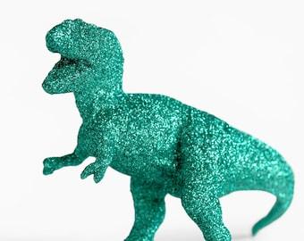 T-Rex Dinosaur Cake Topper in Teal Green Glitter for Baby Showers, Weddings, Birthday Decoration, Girls Boys Nursery or Fun Nerdy Home Decor