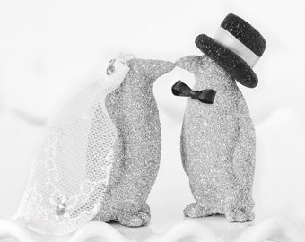 Penguin Wedding Cake Topper Custom Kissing Bride and Groom Personalized w/ Handmade Glitter Bow Tie Top Hat and Veil in your Wedding Colors