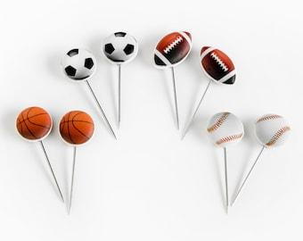 Sports Travel Map Push Pins, Set of 8. Baseball, Basketball, Football, Soccer Cork Board Pushpins, Coach Gift College Room Home Office Decor