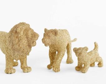 Lions Safari Baby Shower Decorations Gold Glitter Lion Pride Boy or Girl Wild Jungle Nursery Decor Birthday Tables, or Wedding Centerpiece