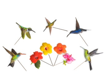 Hummingbird Pins, Grandma Gift Set of 9, Bohemian Summer Birds & Colorful Flowers, Birthday Ideas for Best Friend Mom Sister Daughter Teens