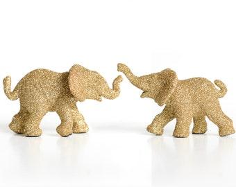 Elephant Baby Shower Cake Topper Keepsake, Safari Wedding Decoration, Jungle Nursery Decor, Boy Girl Circus Birthdays, Gold Glitter Set of 2