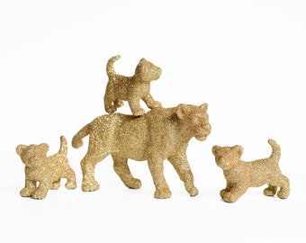 Lions, New Mom and Baby Set. Safari Gold Glitter Lioness Lion Cub. Cake Topper, Baby Shower Gift, Nursery, Jungle Birthday Party Decoration