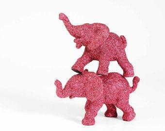 Elephant Cake Topper Jungle Baby Shower Decoration Twins Safari Nursery Decor, Girls Cute 1st Birthday Party Idea, New Mom Gift Pink Glitter
