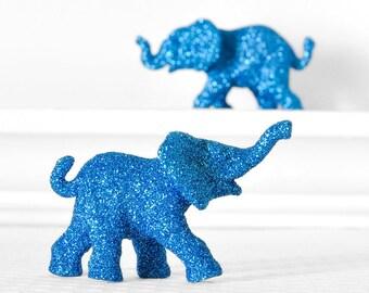 Safari Elephants Baby Shower Decorations in Blue Glitter for Boy Jungle Nursery Decor Circus Birthday Parties Wedding Cake Topper, Set of 2