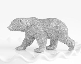 Polar Bear Party Decorations Silver Glitter Cake Topper, Nursery Decor, Baby Shower Decoration, Winter Weddings, Birthday Table Centerpiece