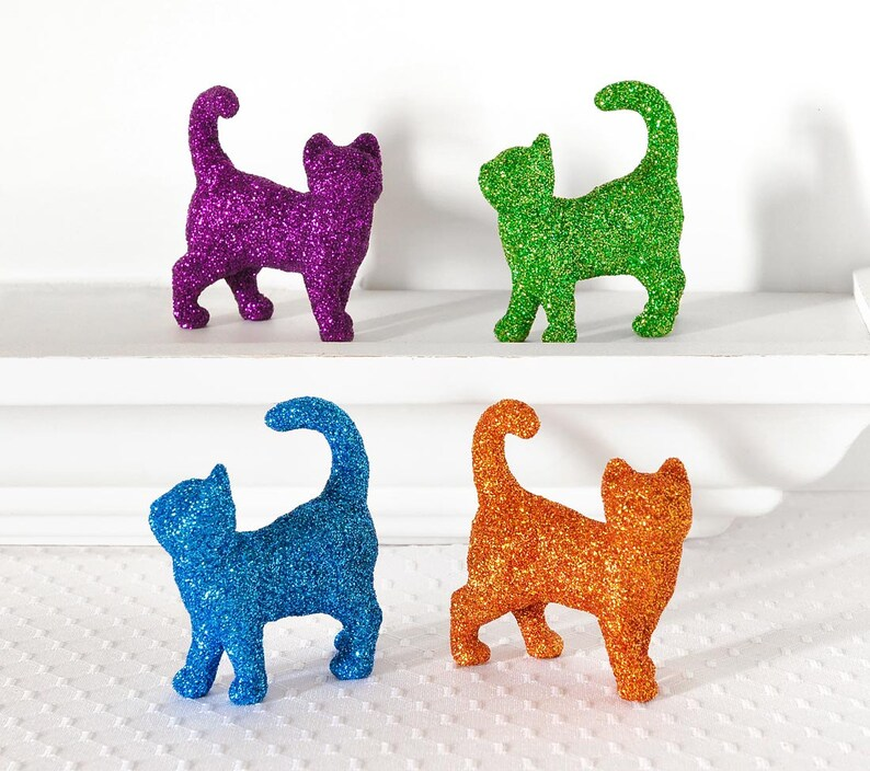 Baby Showers or Animal Nursery Decor Wedding Cake Topper 2 Kissing Kitty Cats in Orange Glitter Table Settings Tabby Cat Lady Birthday