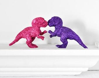 Baby Dinosaur Birthday Party Cake Topper Dino Girls T-Rex Pink Purple Glitter Baby Shower Table Settings, Weddings, Nursery, Nerd Home Decor