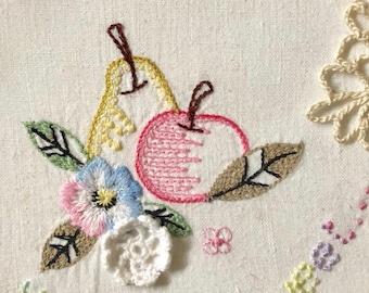 11 vintage fruit floral embroidery doily pieces lot